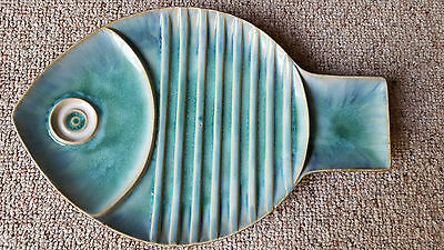 Global Views Blue Ceramic Medium Fish Plate Wall Art