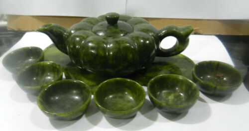 Chinese green jade hand carved statues Teapot cups amp Pumpkin one set
