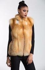 """Natural Canadian Red Fox Fur Letout 26"""" Zip Vest - SALE, sz 8"""