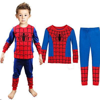 1-7T 2Pcs Baby Boys Spiderman Toddler Pajamas Pyjamas Set Sleepwear Homewear