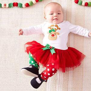 49cb48f06ba1 2PCS Set Toddler Kids Baby Girl Deer Princess Tutu Dress Tops+Pants ...