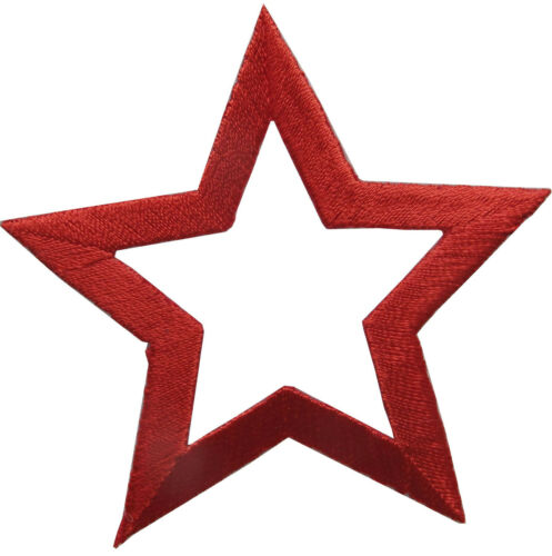 "Lot 6 PCS 3/"" Embroidery Iron On Red Hollow Star Applique Patch"