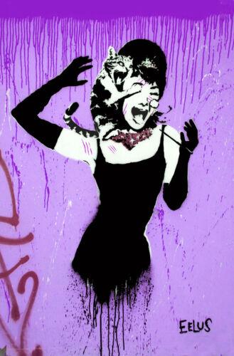"Graffiti Audrey Hepburn 24/""x36/"" Canvas Print Purple Banksy"