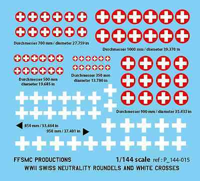 Decals 1//32 WWII Swiss Neutrality Roundels and White Crosses FFSMC Productions