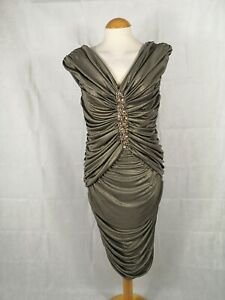 Ladies-Dress-Size-14-KALEIDOSCOPE-Gold-Shimmer-Ruched-Party-Evening-Wedding