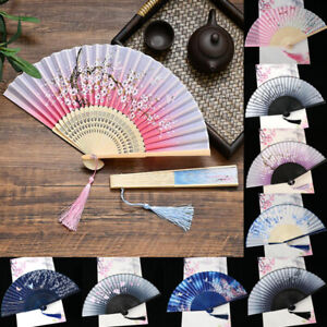 Japanese-Chinese-Hand-Held-Dance-Fan-Folding-Silk-Bamboo-Flower-Wedding-Party
