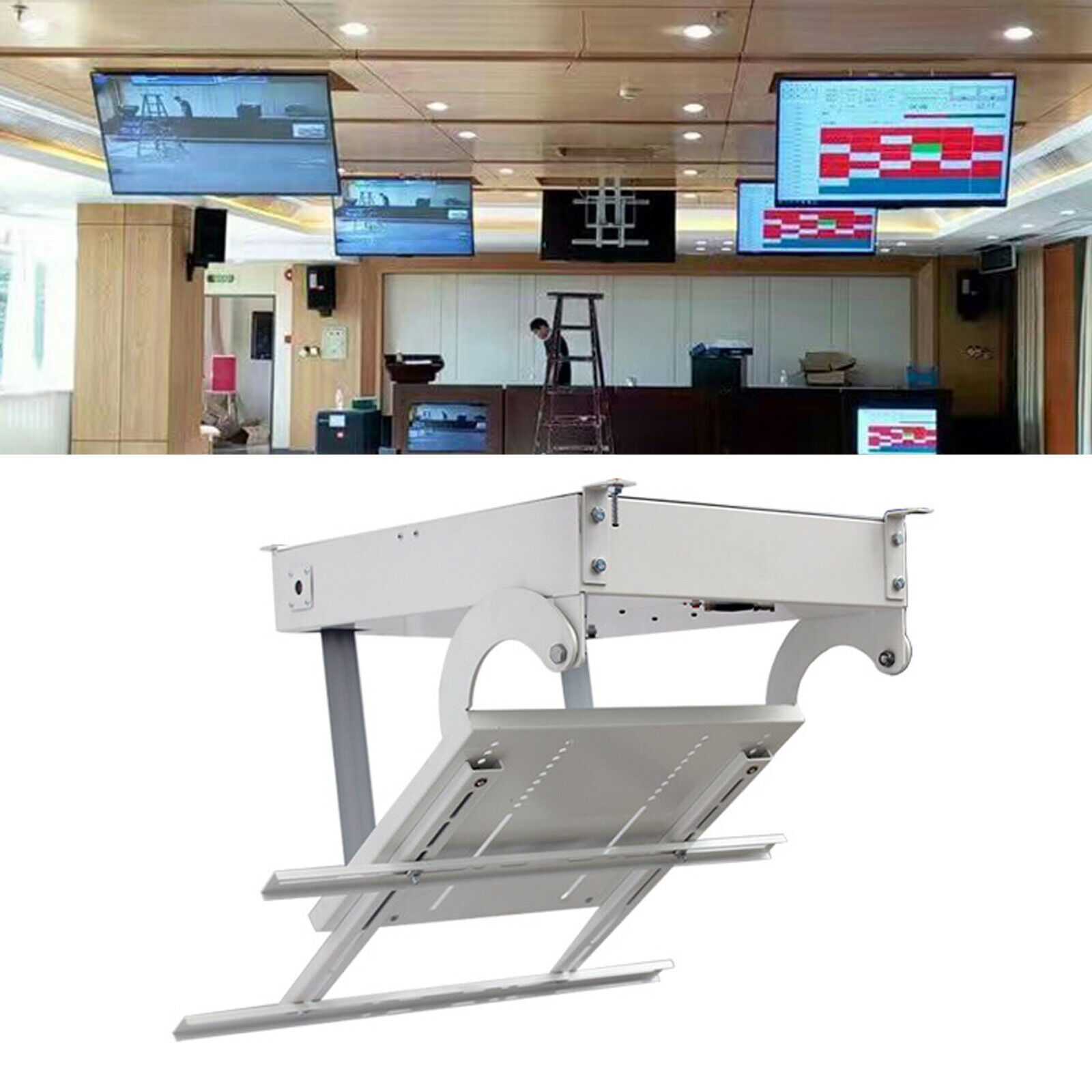 "32""-70"" Adjustable Size TV Ceiling Rack Bracket Electric Hanger Remote Control. Available Now for 435.00"