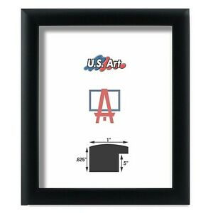 """US ART Frames 1"""" Black Nugget Contemporary MDF Wood Picture Poster Frames S-12"""""""