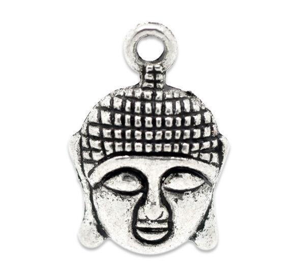 50 Antik Silber Buddha Charms Anhänger 22x15mm