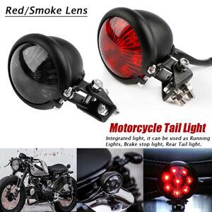 Motorrad-LED-Ruecklicht-Bremsleuchte-Schwarz-Rot-Glas-fuer-Harley-Chopper-Bobber