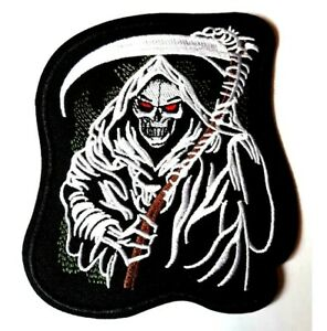 Grim Reaper patch Skeleton Embroidered Iron Sew On Badge Death Biker Halloween