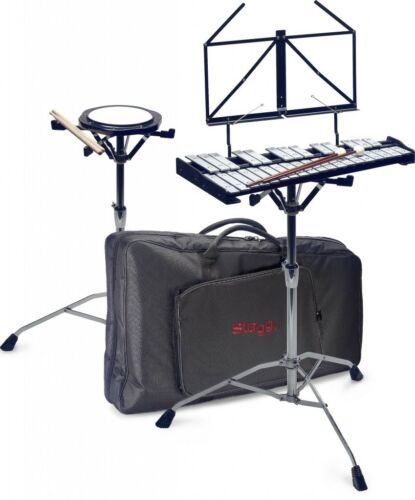 STAND STAGG 32 METALLOPHONE BELL SET STICKS /& BAG XYLOPHON PRACTICE DRUM PAD