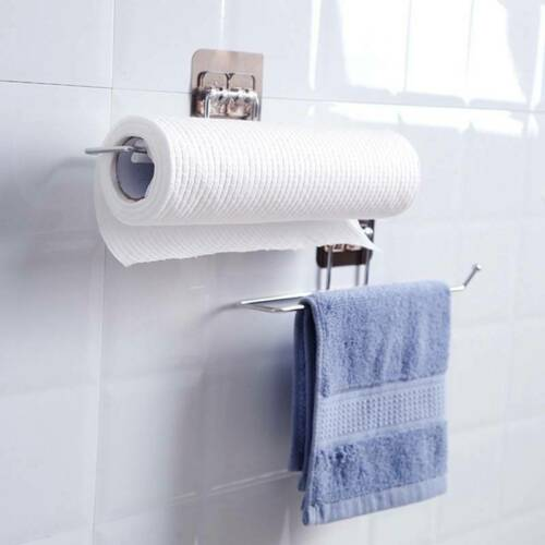 Kitchen Roll Holder Wall Mounted Self Adhesive Tissue Paper Towel Rack RE VH4@A