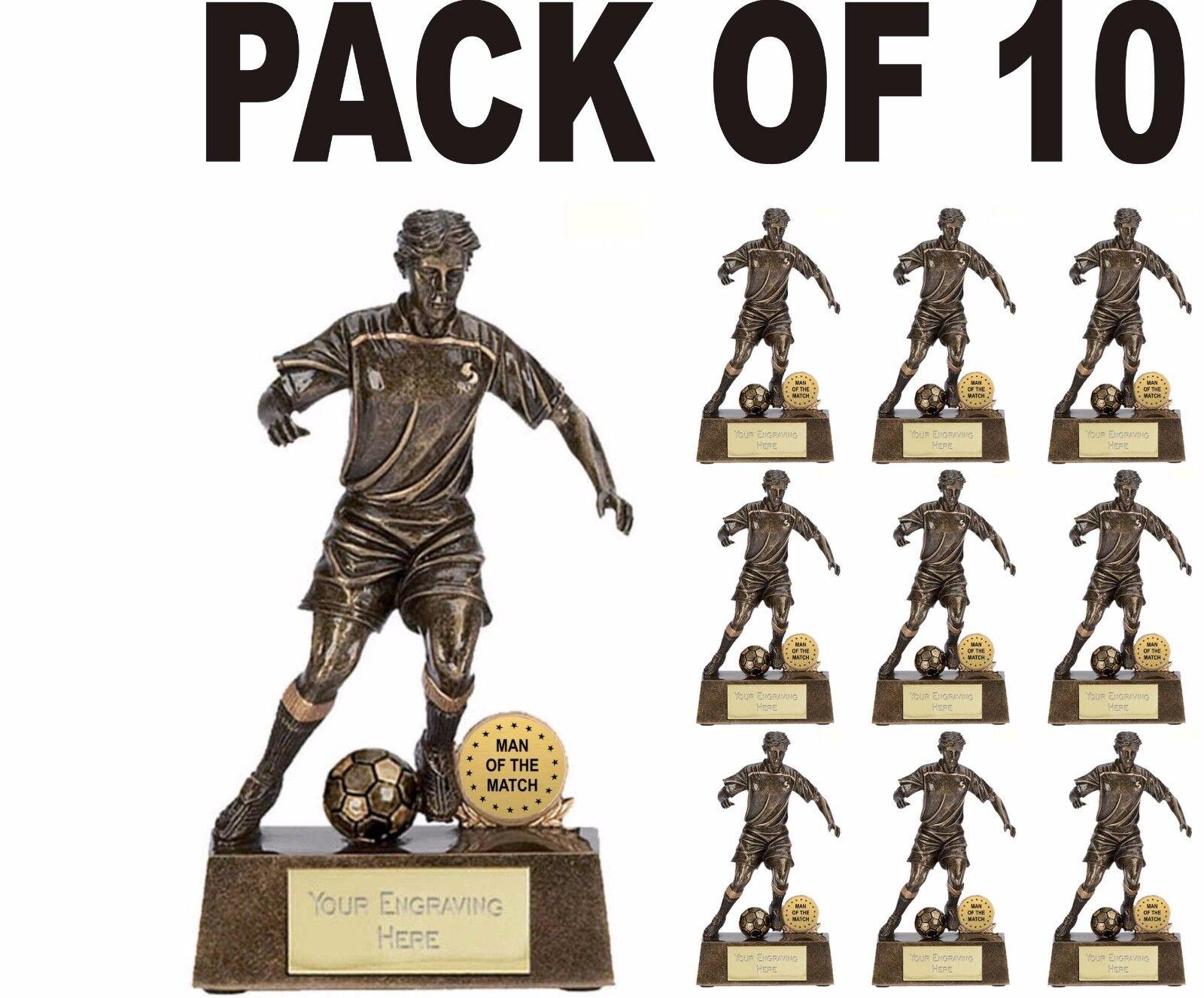 Confezione di 10 resina solida Uomo della Partita di Calcio Premio Trofei Lettore A876A B10