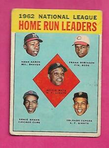 1963-TOPPS-3-AARON-BANKS-MAYS-ROBINSON-LEADERS-VG-CARD-INV-C3149
