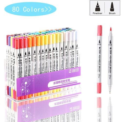 80 Colors Single Art Markers Brush Pen Sketch Alcohol Based Markers Dual Head