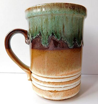 Ashdale Pottery mug brown green drip glaze ceramic beaker vintage 1970s 1980s