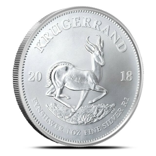 2018 South Africa 1 oz .999 Fine Silver Bullion Krugerrand Coin Gem BU