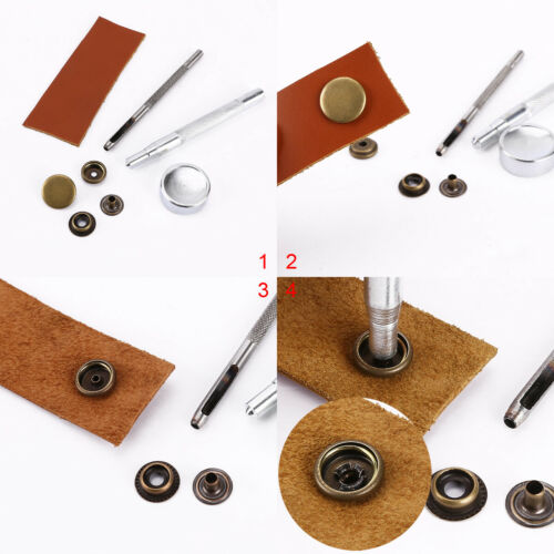 Fermoir bouton attache en fer 15mm 15 sets métal bronzé boutons pression