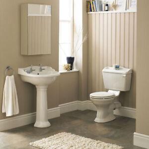 Details Sur Traditionnel Salle De Bain Xl 600 Mm Bassin Lavabo Et Toilettes Avec Robinets Plug Chaine Suite Afficher Le Titre D Origine