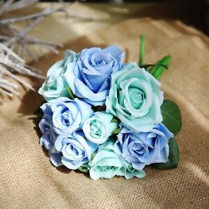 9-Koepfe-Braut-Seide-Rosen-Hochzeit-Blumenstrauss-Zimmer-Floral-PrettyDekor-Nice