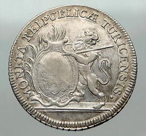 1776-SWITZERLAND-Swiss-Canton-of-ZURICH-Old-LION-1-2-Thaler-Silver-Coin-i84952