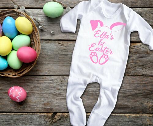 Custom Baby/'s 1st Pâques à manches longues rompersuit Baby Grow Sleepsuit Body