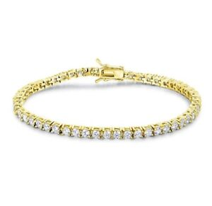 14k-Yellow-Gold-Over-925-Sterling-Silver-Round-Diamond-Tennis-Bracelet