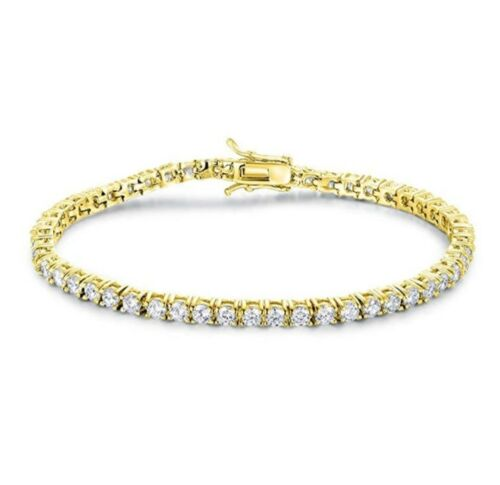 14k or jaune sur argent sterling 925 Rond Diamond Tennis Bracelet