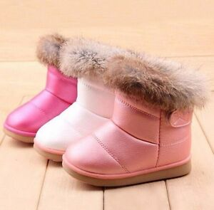 906289a06 2018 Winter Girl Kids Toddler Rabbit Fur Leather AntiSlip Shoes Warm ...
