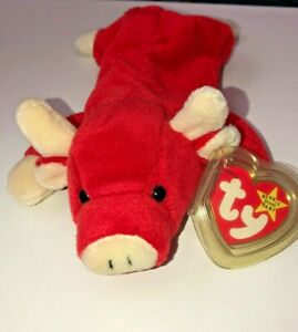 2a6275f8f2c EXTREMELY RARE VINTAGE 1995 SNORT TY BEANIE BABY RED BULL PLUSHIE ...