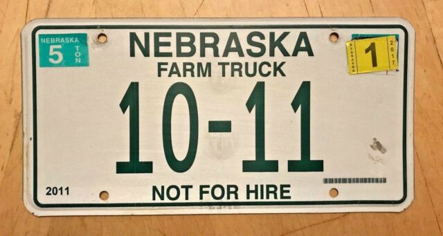 "NEBRASKA NOT FOR HIRE FARM TRUCK AGRICULTURE   LICENSE PLATE "" 10 11 "" NE LOW NO"
