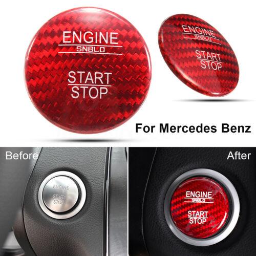Red Carbon Fiber Key Engine Start Stop Button Cover Cap Trim For Mercedes Benz