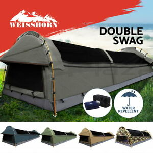 Weisshorn-Double-Swag-Camping-Swags-Canvas-Tent-Deluxe-Dome-Kings-Poles-Bag