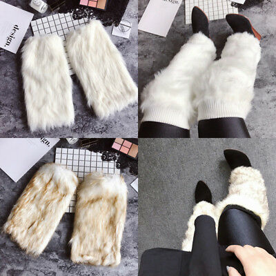 Women/'s 20cm Faux Fur Fluffy Shaggy Leg Warmers Boot Shoes Covers Ankle Muffs
