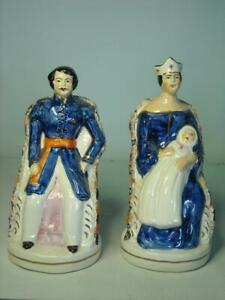Vintage-Staffordshire-PRINCE-ALBERT-amp-QUEEN-VICTORIA-amp-BABY-Pottery-Figurines