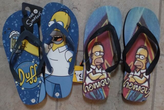 8a3b45010 The Simpsons Homer Duff Flip Flops Mens Med or Large New with Tags ...