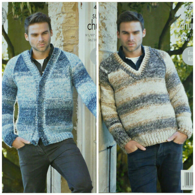 073402e39 Mens KNITTING PATTERN EASY KNIT V-Neck Jacket and Jumper Super Chunky KC  4292