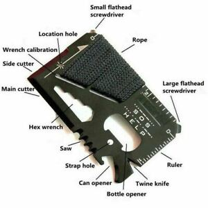 Stainless Steel Credit Card Tool 14 in 1 Multi Pocket Survival Camping Tools