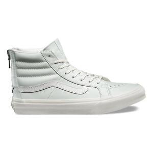 2fdb568b1658da VANS SK8 Hi Slim Zip (Leather) Zephyr Blue Blanc de Blanc WOMEN S ...