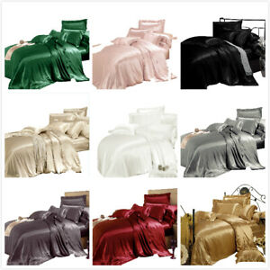 100-Mulberry-Silk-Bed-Sheet-Set-19-Momme-Silk-Flat-Fitted-Sheet-Twin-Queen-King