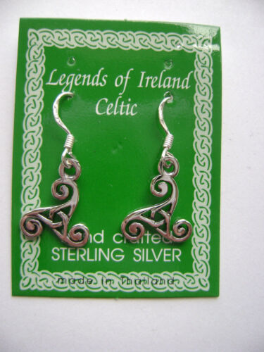 0372215ab ... Sterling Silver Celtic Irish Triskele Triple Spiral Triskelon Hook  Earrings New