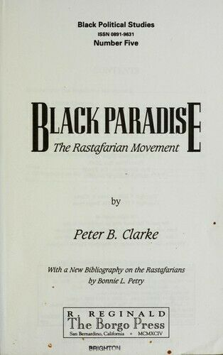 Black Paradise : The Rastafarian Movement by Clarke, Peter B. -ExLibrary