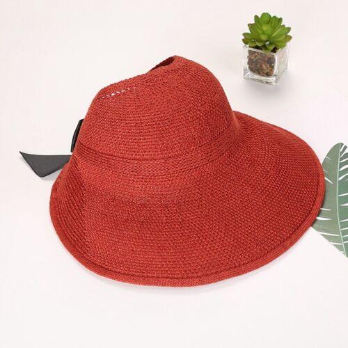 Summer Sun Hat Visor Straw Cap Beach Foldable Women Lady Wide Bow Hat #UK y4r