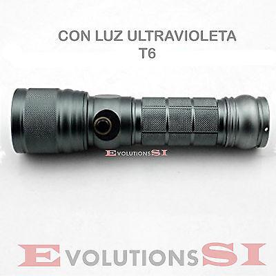 LINTERNA LED T6 CON FUNCION ULTRAVIOLETA Y MODO LINTERNA NORMAL ENVIO DESDE ESP