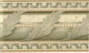 Wallpaper-Border-Green-Acanthus-Leaf-Scroll-Architectural-Molding-Egg-amp-Dart