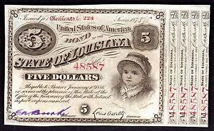 US 1886 STATE OF LOUSIANA $5 STATE BOND RARE