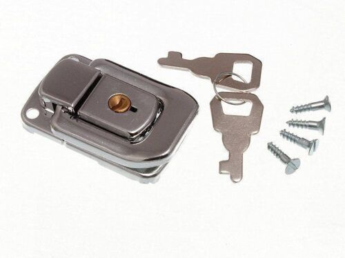 LOCKING CASE CLASP TOGGLE TRUNK CATCH  2 KEYS AND SCREWS 48MM X 33MM CP 12E7