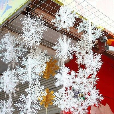 30PCS  Christmas Tree ornaments Decor  Glitter White Snowflakes 5Sizes