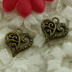 free ship 90 pieces bronze plated heart charms 15x13mm #3104
